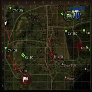 Миникарта WoT с установленным модом на направление стволов противников