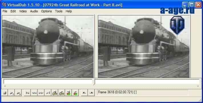 Интерфейс программы Virtualdub в процессе обработки видео