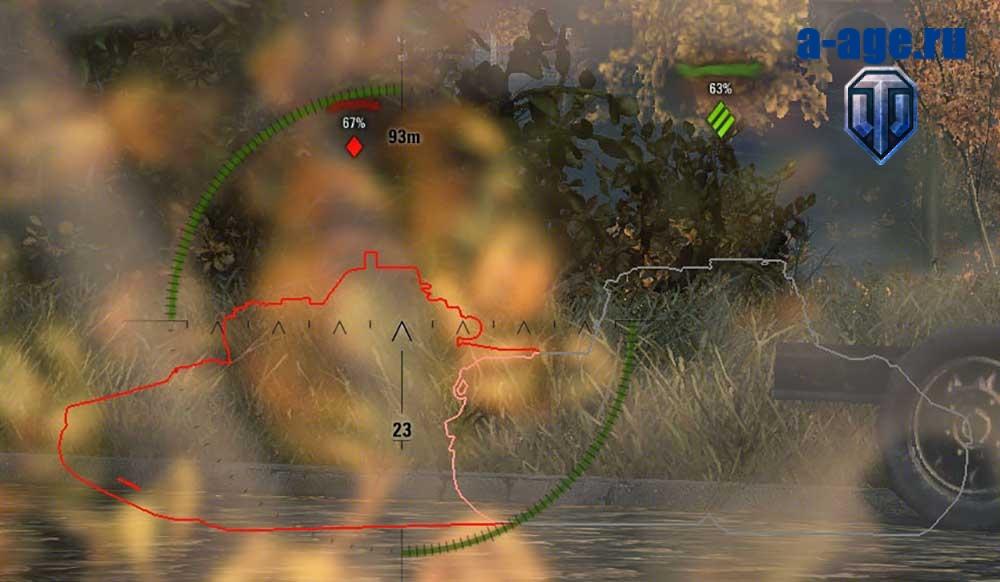 Наложение контура союзника на контур противника при постоянно включенной обводке конутра WoT