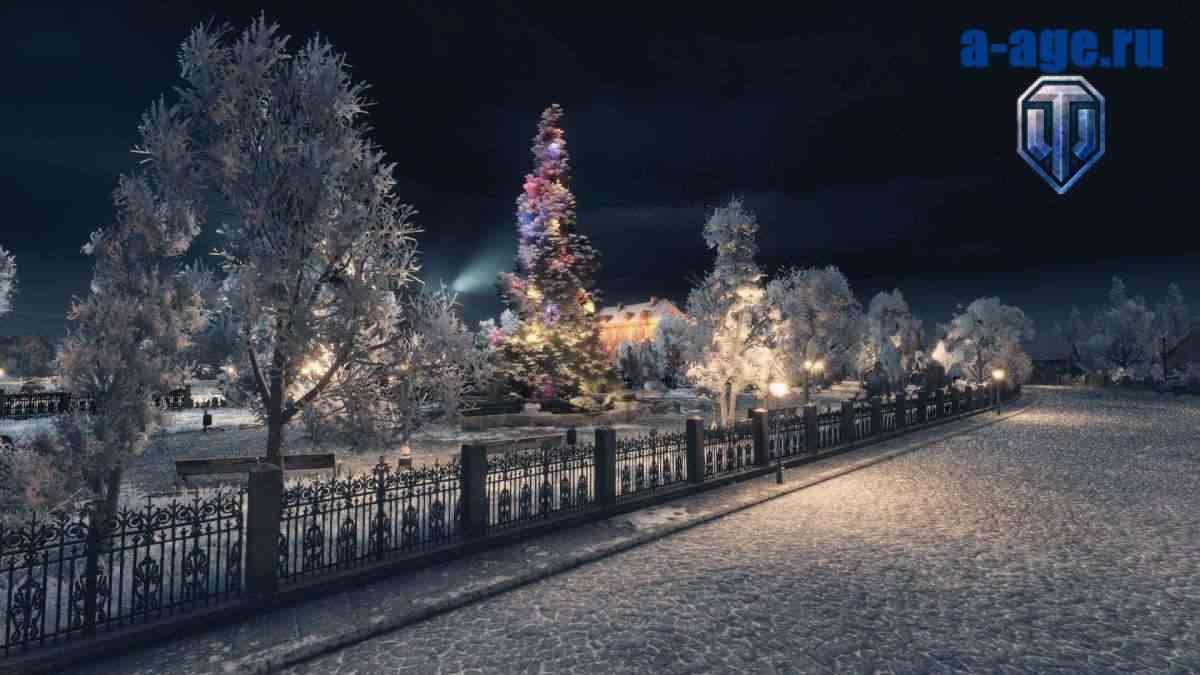 Зимний мод и новогодняя елка на карте World of Tanks